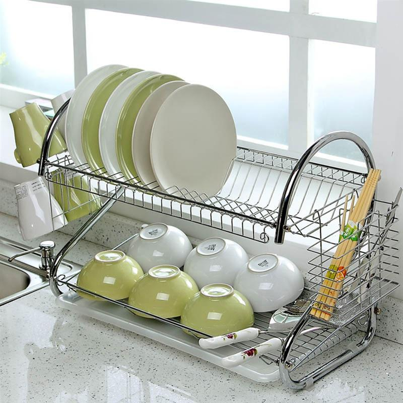 Lw 2 Tiers Kitchen Dish Drying Rack With Tray Silver