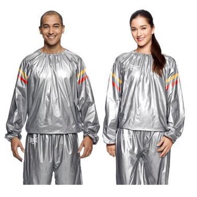 Uni Sauna Suit Training Jogging Running Flush Out Sweat Suite Silver