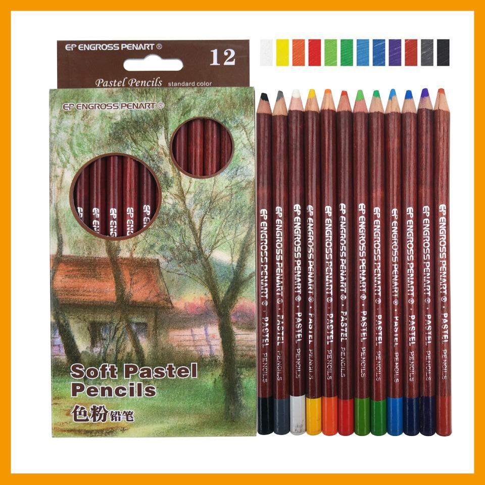 12 Colors Professional Soft Pastel Colored Pencils Non-toxic Drawing Pencils Set Sketch Painting Art