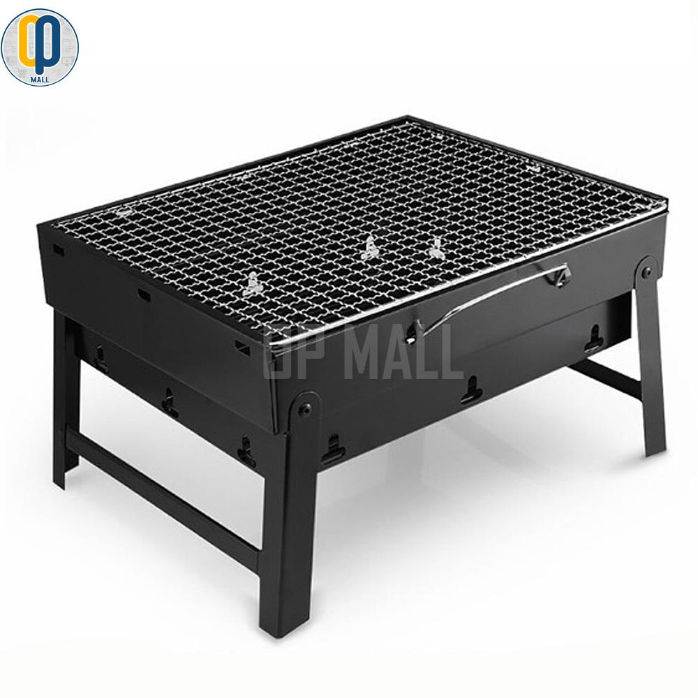 Opmall portable stainless steel barbecue grill pits black