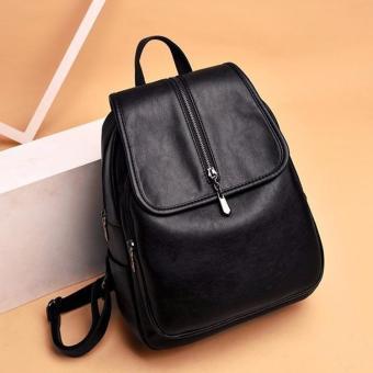 UISN MALL Korean Leather backpack (black) #024