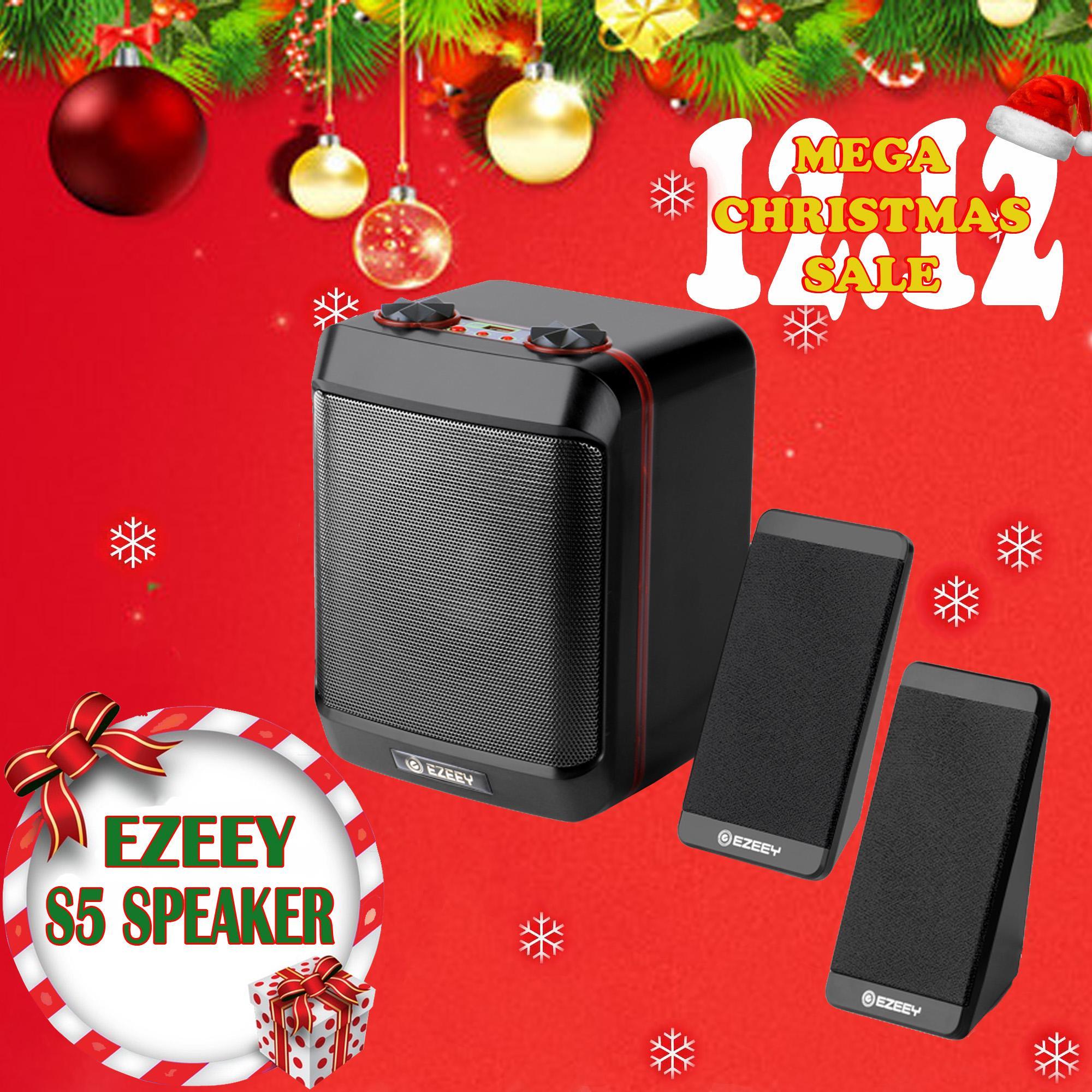 EZEEY S5-MAX - USB 3 5mm 2 1 Heavy Bass Speaker for Desktop Laptop Notebook  Tablet FM Radio SmartPhones PC
