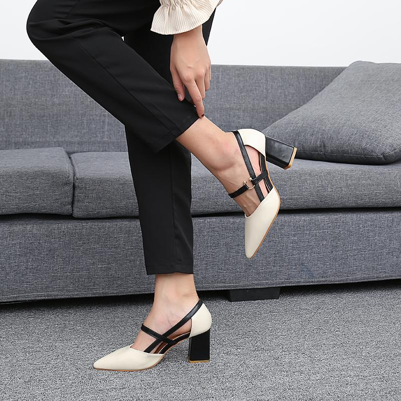8b634152e711 Shoe women 2018 New Style Korean Style Semi-high Heeled Block Heel Shoes  Straight-