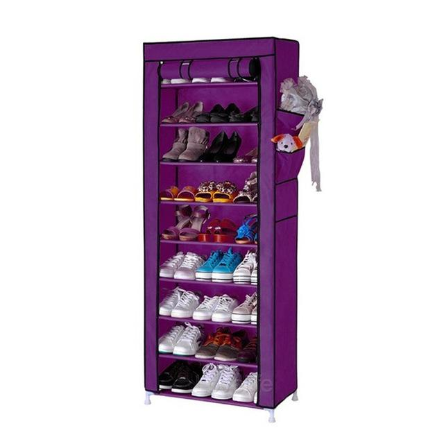 10 Layer 9 Grid Shoe Rack Storage Cabinet Cover Pockets By Movall.