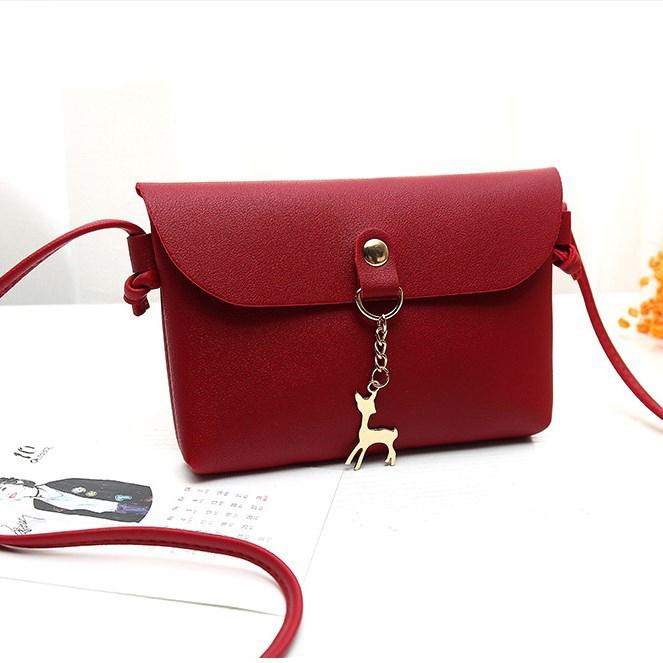 AMOG Hot Sale Women s Korean-style PU Shoulder Bag small deer toy pendant  Transverse envelope 1fd5157a296ac