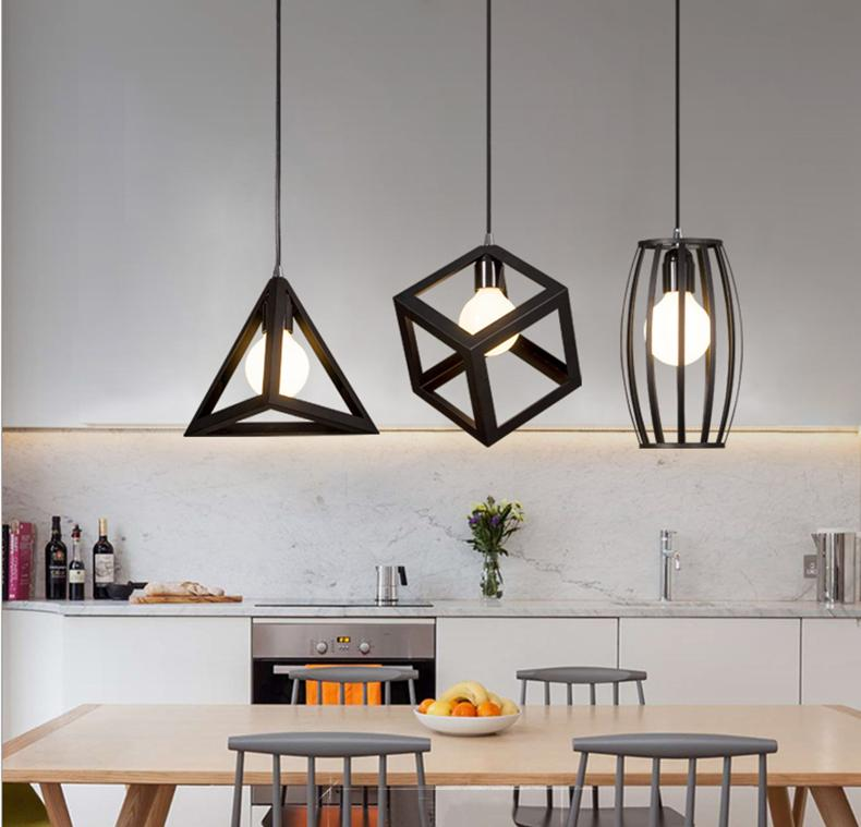 Modern Minimalist Creative Cool Vintage Hanging Lighting Cafe Iron Art Industrial Bar Three Head Restaurant Lamps