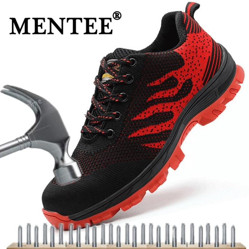432e5c65fbc9 MENTEE Plus Size 36-46 Men And Women Work Safety Shoes Steel Toe Cap For