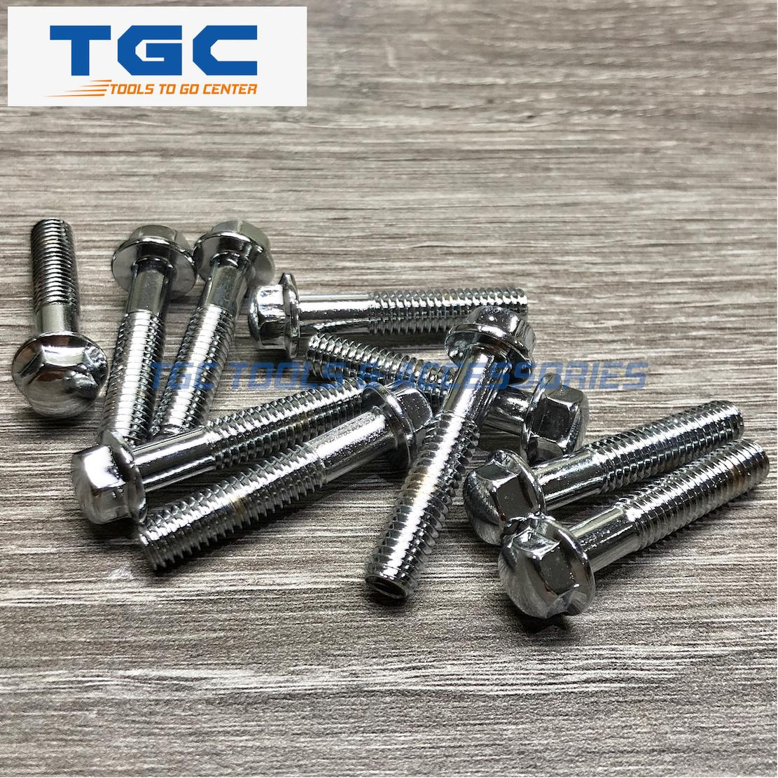 Chrome Flange Bolt M6 X 30mm (8mm Head) 10 Pcs For Motorcycle Accessories By Tgc Tools & Accessories.