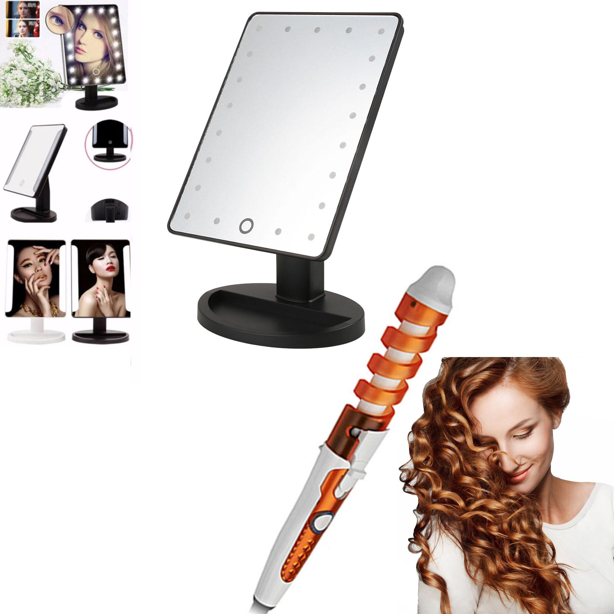XR-1608 Make Up Vanity Illuminated Desktop Table Makeup Stand Large LED Mirror with 16 LED Light (Black) with RZ-118 Professional Hair Curler (Yellow/White) Philippines