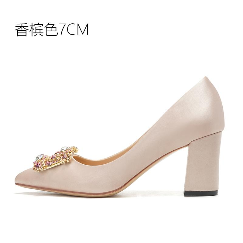 Pregnant Women Wedding Shoes women 2018 New Style Bridal Shoes Man-made  Diamond Square Buckle 8a3ae2f4dfd4