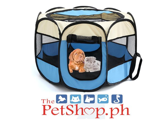 Pet Kennel Soft Playpen Folding Crate 74x74x43cm Blue W/ White Top By Thepetshop.