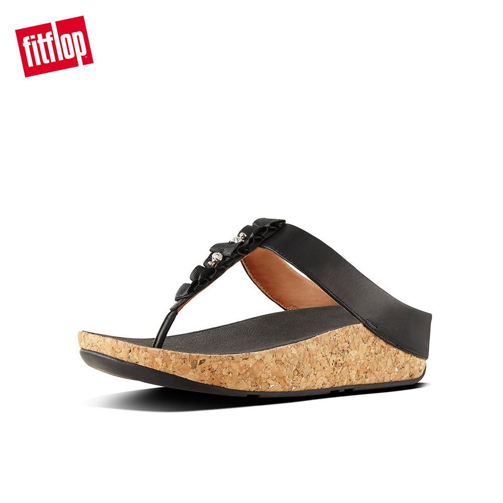 af76e3e6 FitFlop Women's Sandals K07 RUFFLE TOE THONG SNDLS Leather DRESS lightweight  comfort fashion New