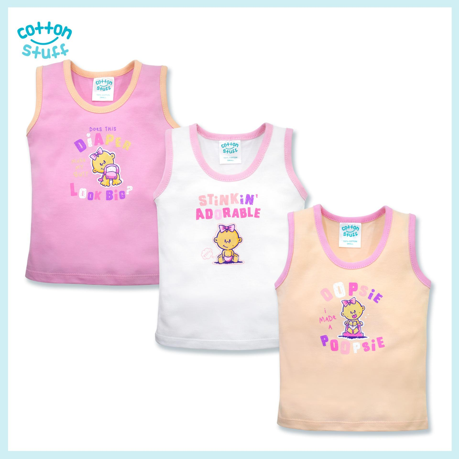 From The Crib - 3-Piece Sando (stinking Cute - Girl) By Cotton Stuff.