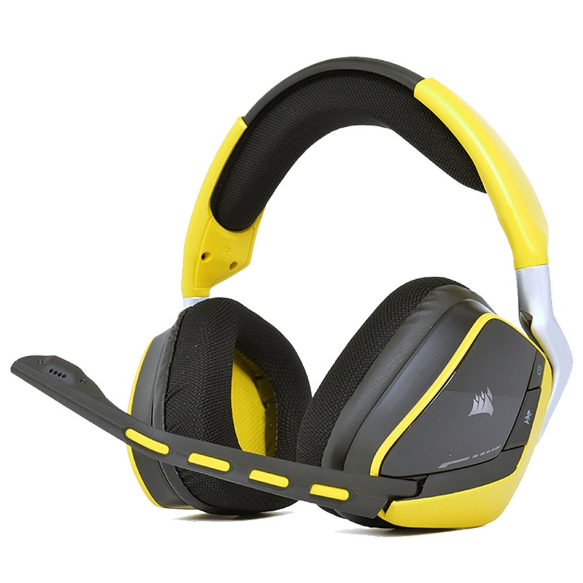 Corsair Void Pro CS-CA-9011150-AP RGB 7 1 Wireless Premium Gaming Yellow  Headset, compatible with Desktop PC, Xbox One, PS4 and mobile devices, with