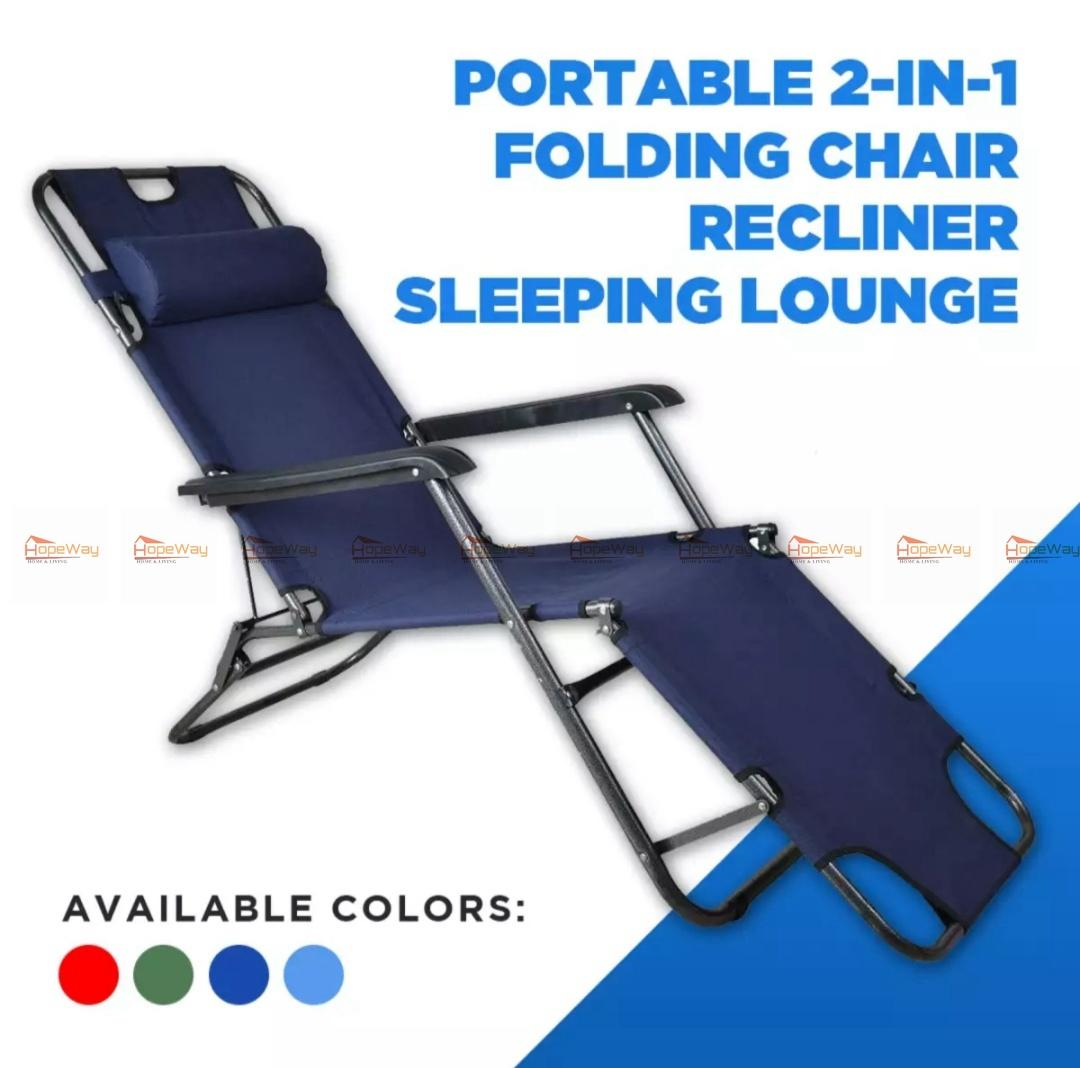 Portable 2in1 folding chair recliner sleeping loung
