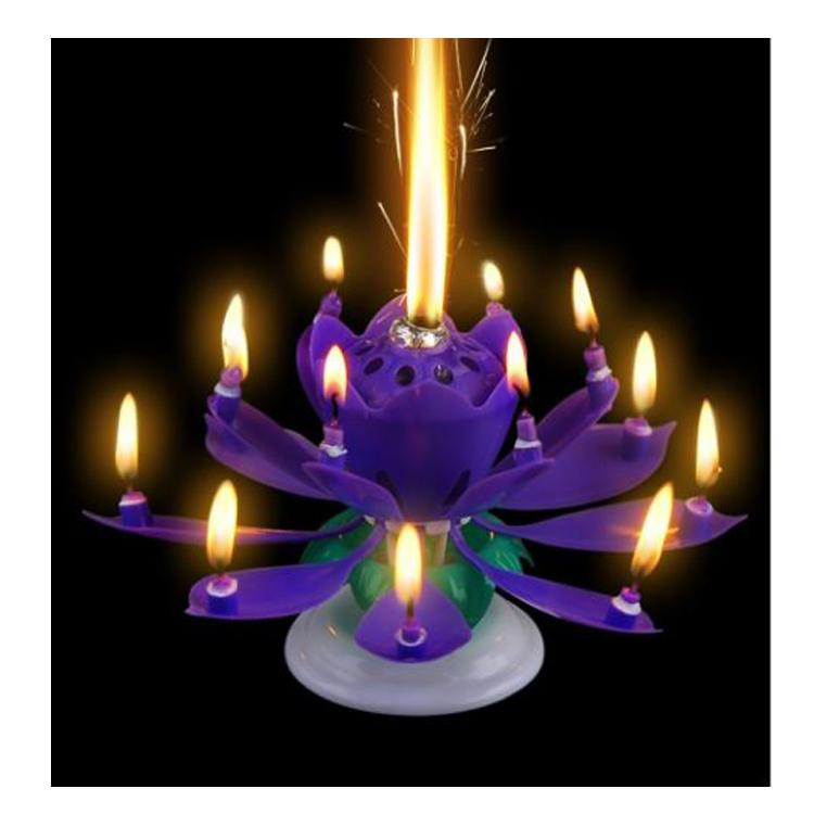 Amazing Blossom Lotus Flower Candle Happy Birthday Party Gift Music Sparkle Cake Topper Rotating Candles