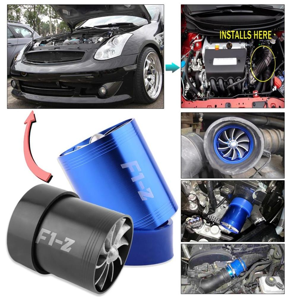 New Super Charger Double Turbonator Air Intake Fuel Saver Turbo Fan Blue