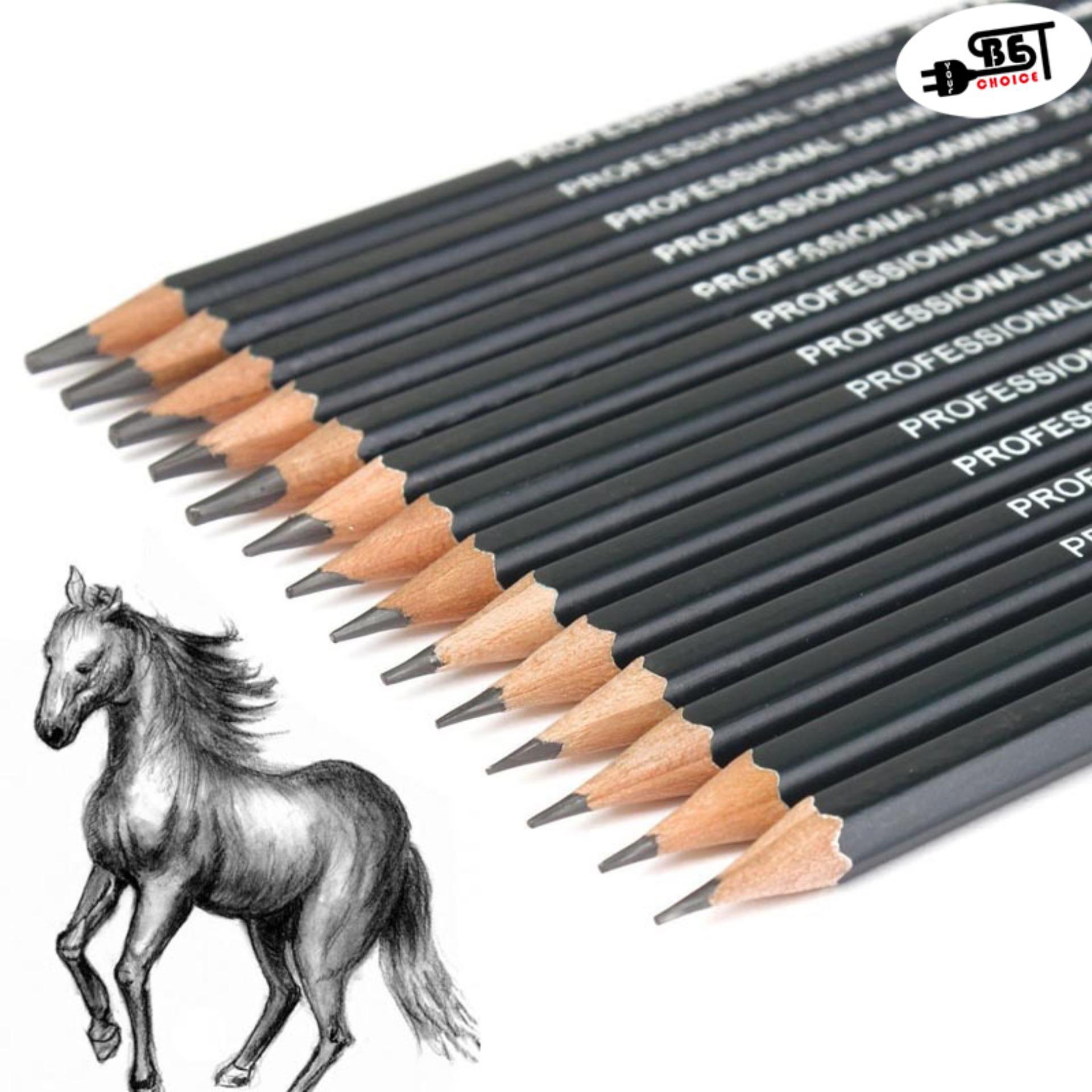 YBC 14pcs Professinal Sketch Art Drawing Pencil 6H-12B Sketching Pencils - intl