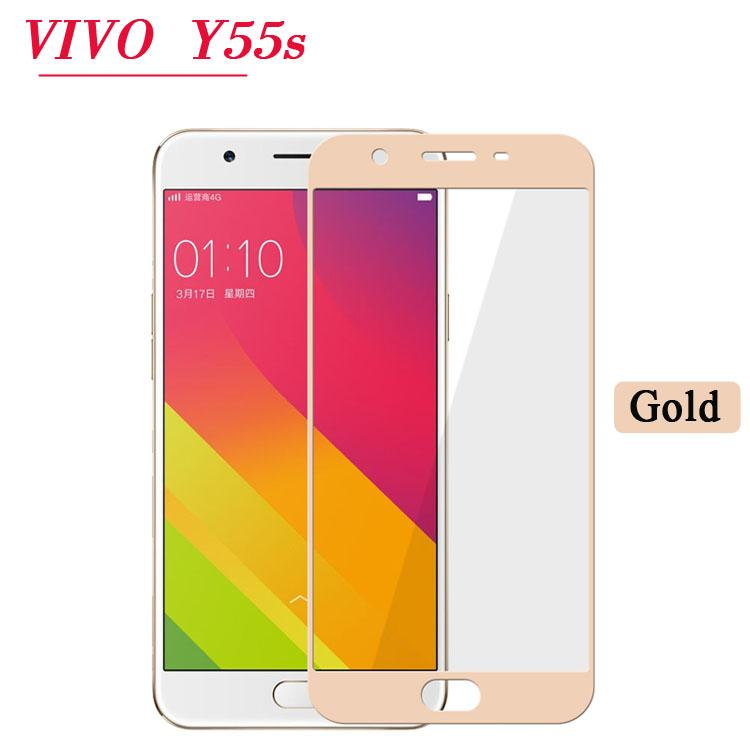 LEEKI Tempered Glass Full Screen Protector HD For Vivo Y55s (Gold)