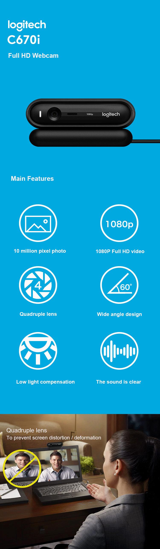 Logitech Webcam HD 1080P C670i IPTV USB Camera Web Cam CMOS 10 Mega  Computer Webcam