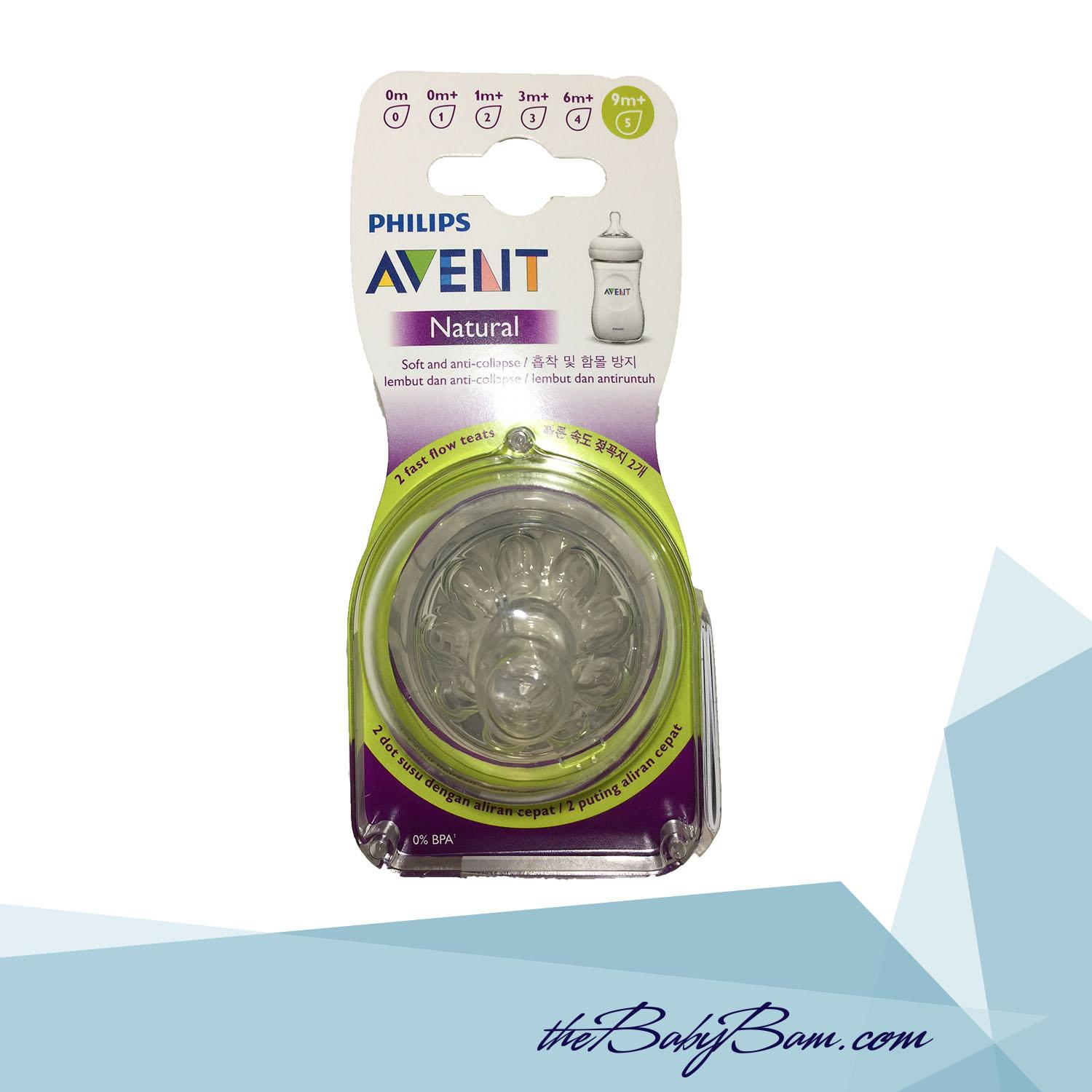 Philips Avent Natural Nipple / Teats 9m+ 2pcs Fast Flow By Thebabybam.