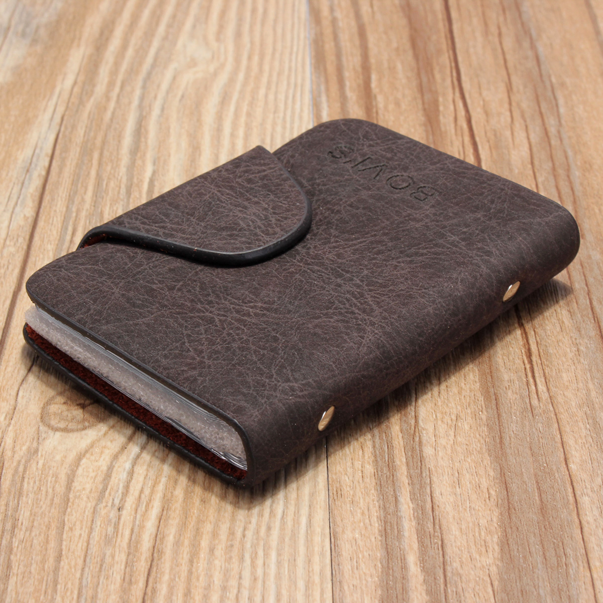 Product details of AEQUEEN Men Leather Business Credit Card Case ID Pocket Mini Wallet Holder Bag 20 Slots Dark Coffee
