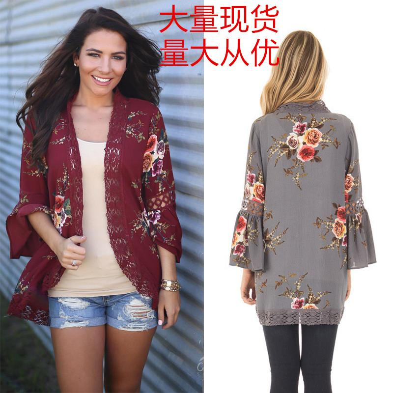 373e89539039d 2017 Autumn And Winter New Products Europe And America Hollow out Lace  Joint Digital Printing Cardigan