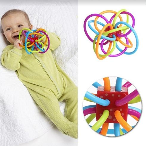 Safety Silicone Biting Teething Teether Balls Ring Fun Rattle Toys For Baby By Colourful Store.