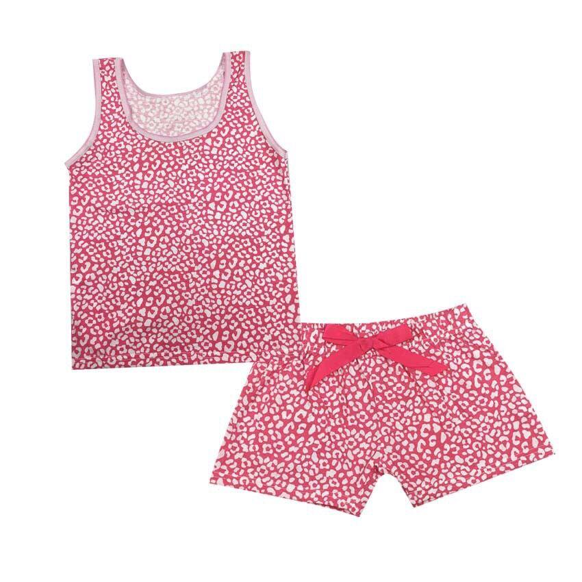 1 Set Girls' suits Cotton printing Sleeveless Vest+ Shorts Children Sport Suit Set Baby Girls