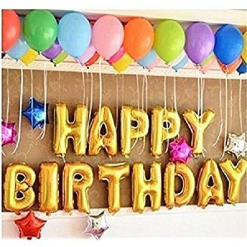 13 Pcs 14 Inches Happy Birthday Letters Foil Inflatable Air Filled Printed Balloons