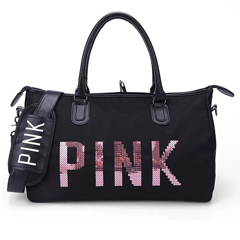 1127 Pink Stylish Travel Bag Shoulder Slingbag High Quality Waterproof Glossy Noodles Nylon