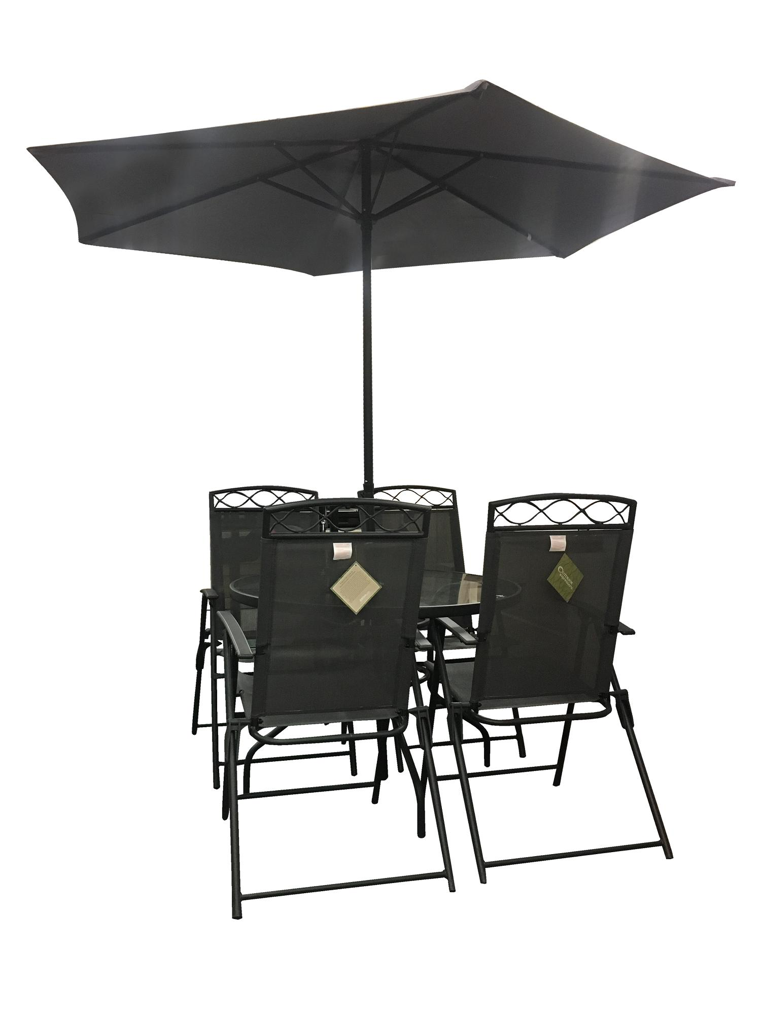 Do It Best Chair Table Umbrella Patio Set 6-Pc. Black By Handyman.