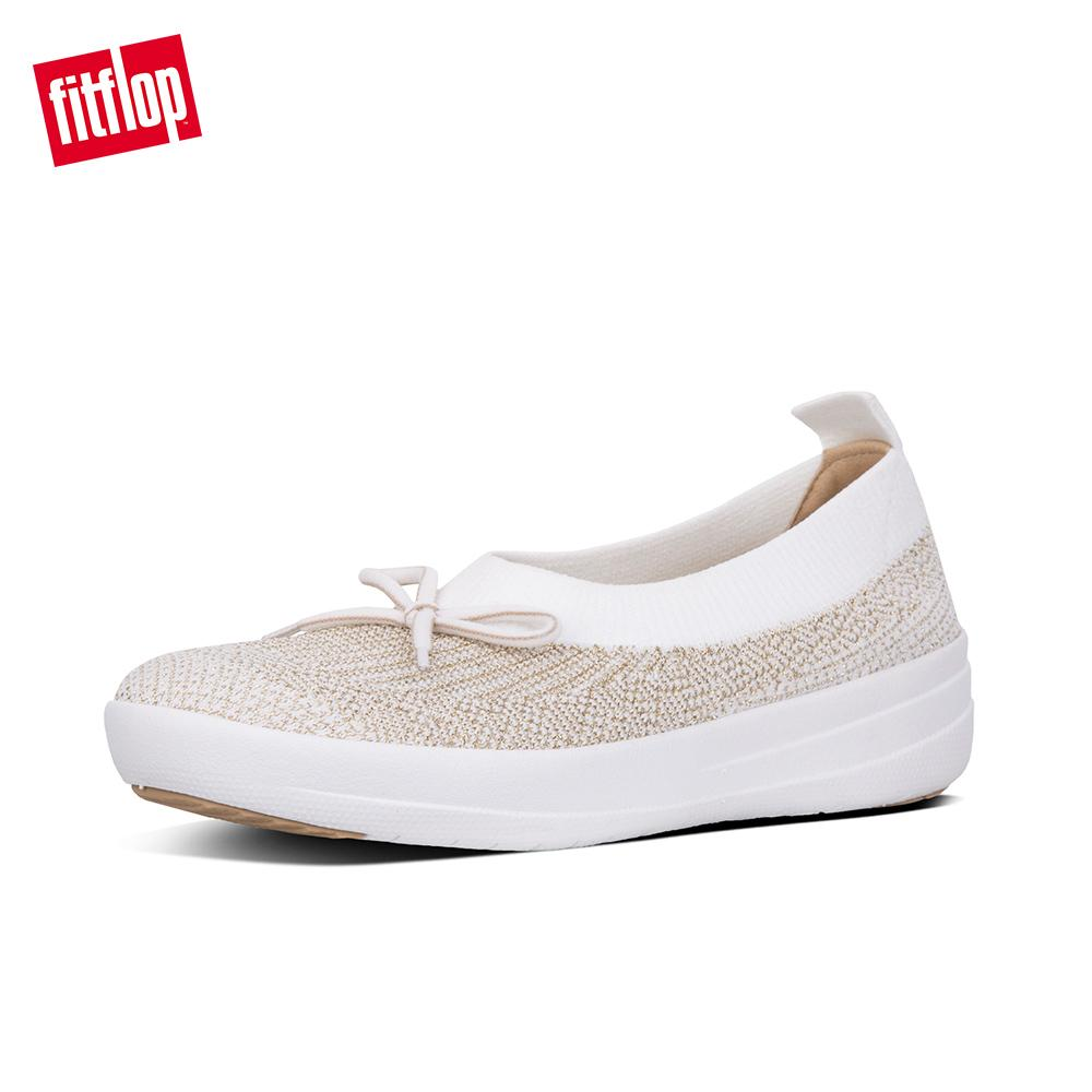 e75a9a2a6f3 Fitflop Women s Shoes K77 UBERKNIT BALLERINA WITH BOW - METALLIC WEAVE  TEXTILE ATHLEISURE lightweight comfort fashion