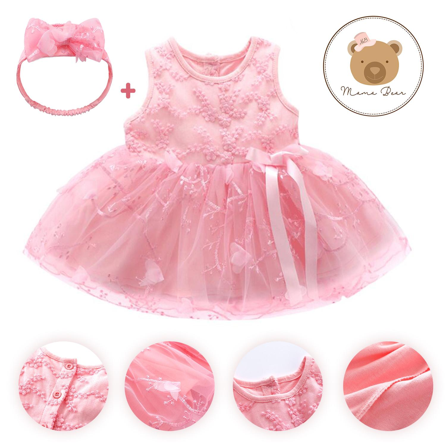 4f70610c7bd Baby Girl Baptismal Dress with Headband Dress Set Baby Lace Dress Party  dress Casual Dress Clothing