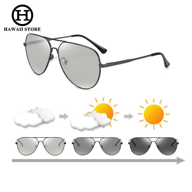 2320a59f4b9 HAWAII pilot Photochromic Sunglasses Men HD Polarized Sunglass Women Chameleon  Sun glasses Male Pilot Classic Driving