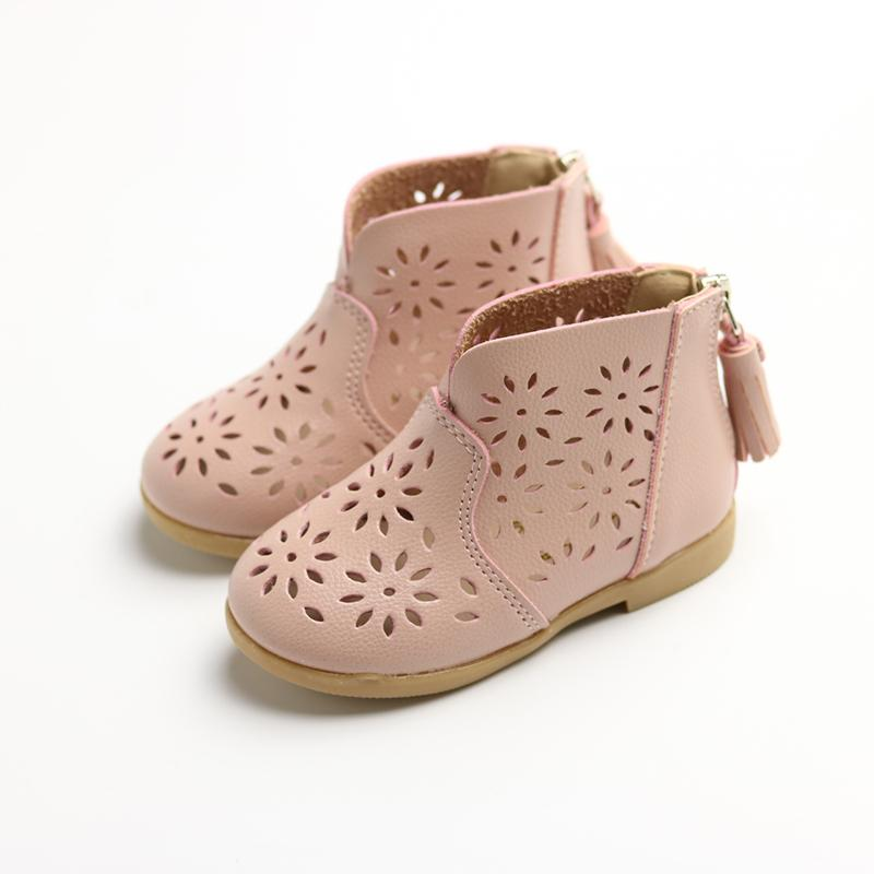 f8ab7c34a0c8 Sandals 2017 Schoolgirl Versatile Soft Bottom Laser Carving Children Baby  Shoes Hollow out Mid-top