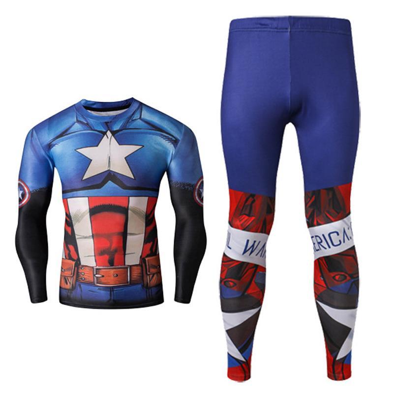 3d7295a94613b2 2Pcs Captain America Marvel Super Hero Cosplay 3D Print Shirt Pant Quick  Dry T Shirt Sportwear