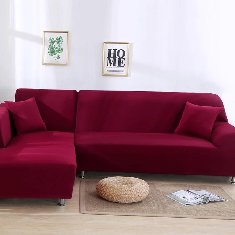 Angel Home Textile B 227 Solid Stretch Sectional Sofa Cover Soft Slipcover Elastic
