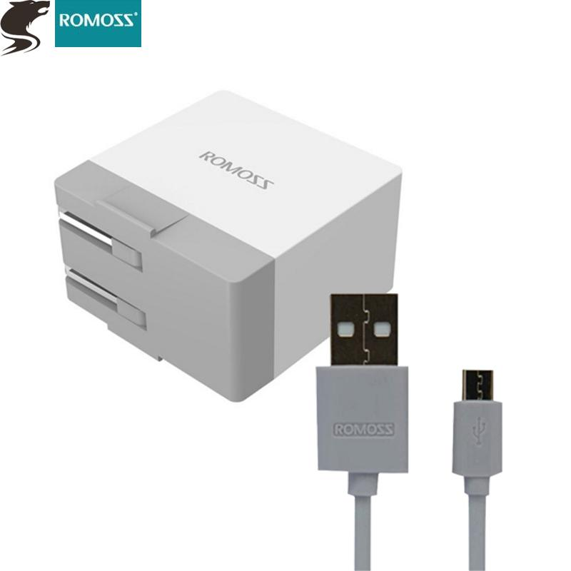 52dc66d92900c7 ROMOSS AC11 Smart USB Output 2.1A Power Adapter Free CB05 Micro USB Android  V8 Data