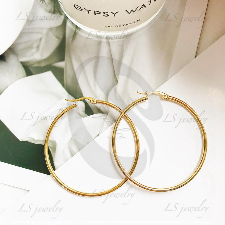 LSjewelry High-Quality Stainless Steel Circle Earring 2 colors E70