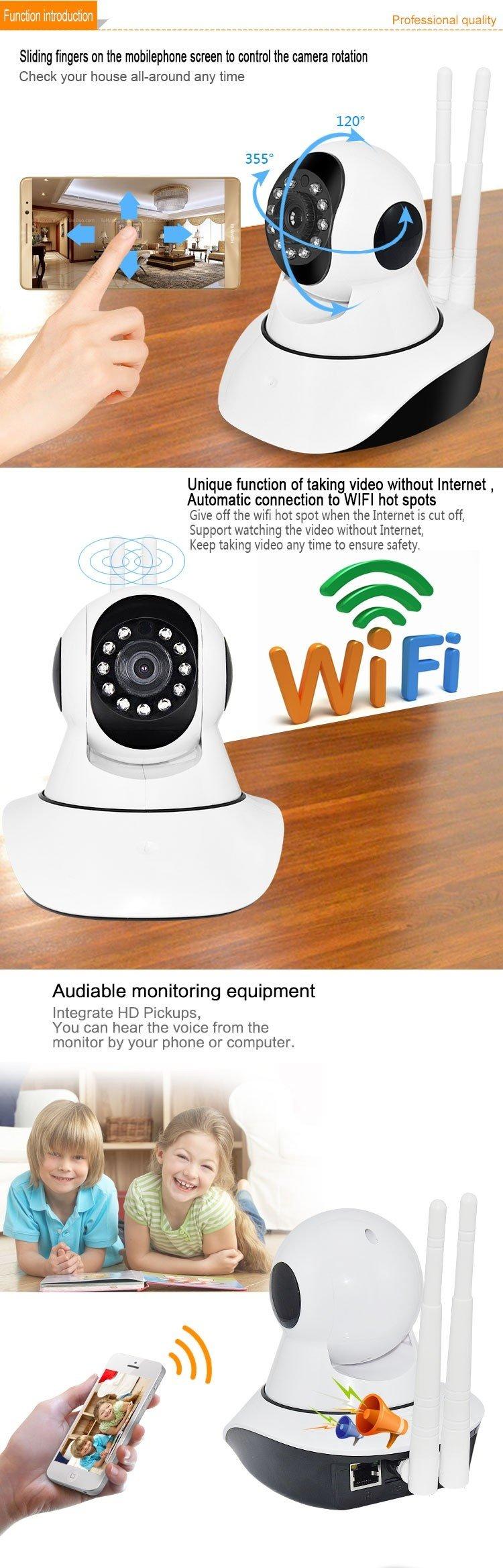 V380 APP-X5-2/VA-Q4 Dual Antenna Smart Home CCTV WIFI IP Camera (White)