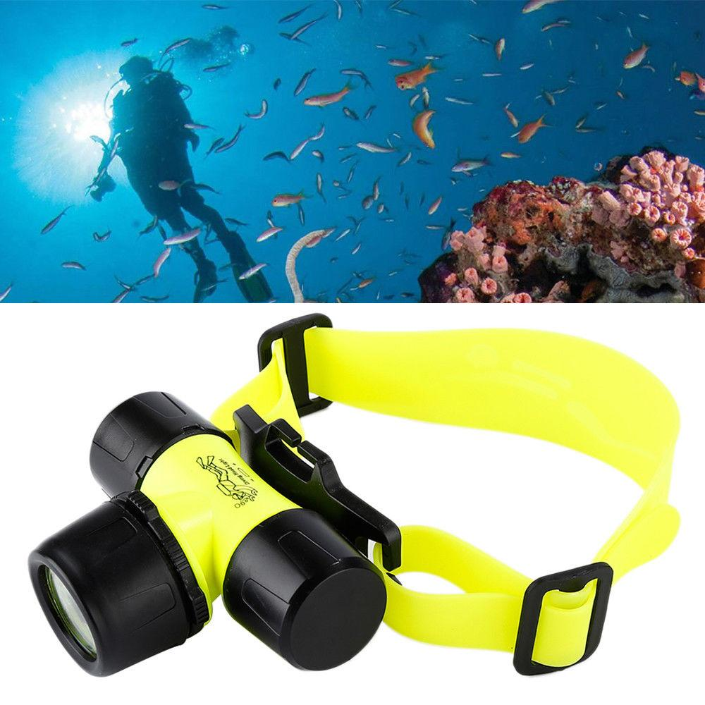 Qooiu [Gift free swimming goggles] LED Underwater Work 50M Waterproof Diving Headlamp Flashlight Torch