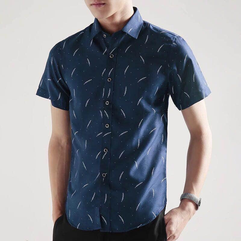 10f208c15 Huilishi Korean-style men short sleeved body type Printed shirt mens shirt  Men Clothing Shirts