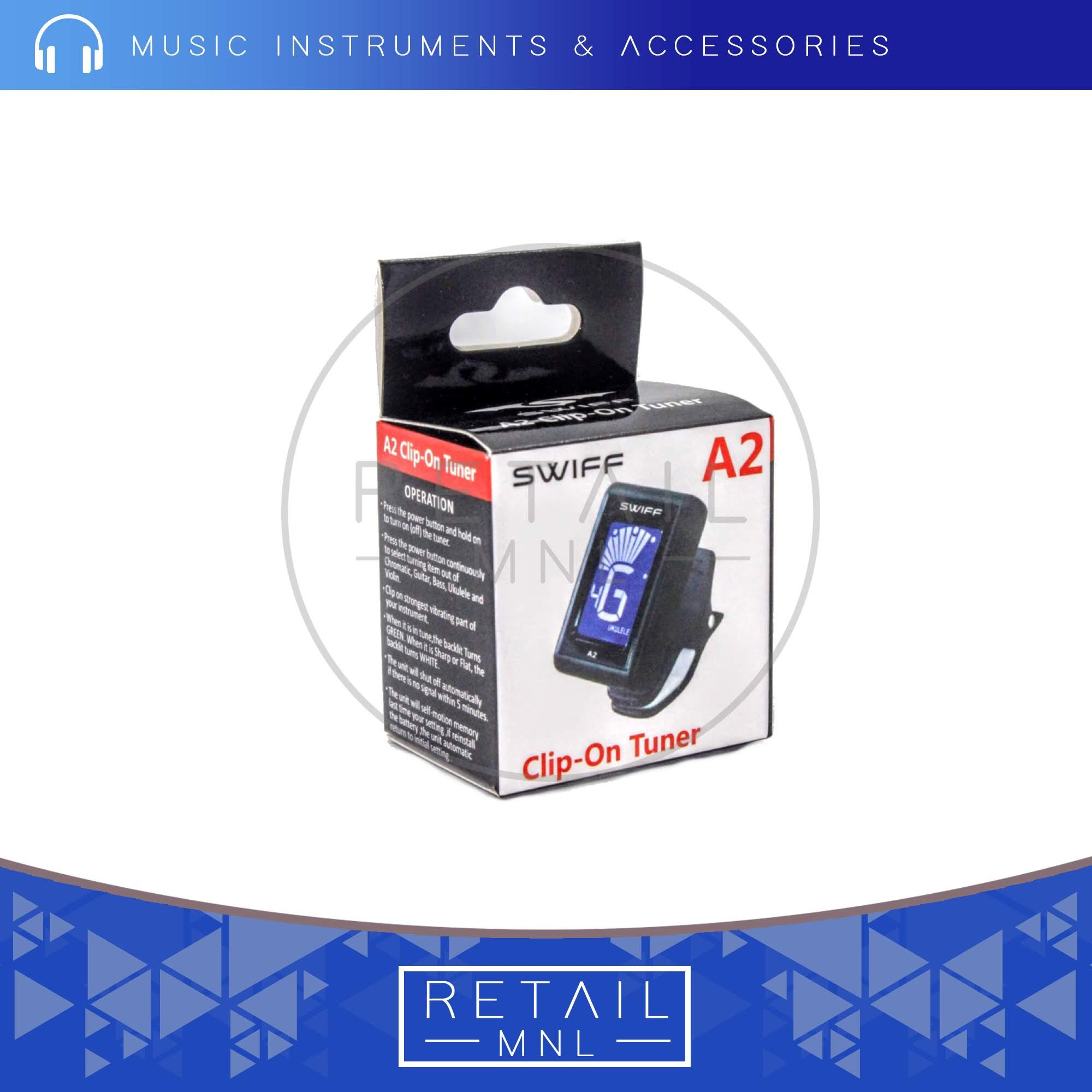 Retailmnl SWIFF A2 Mini Clip-On Automatic Digital Tone Guitar Tuner LCD for  Acoustic Electric Guitar Bass Chromatic Violin Ukulele