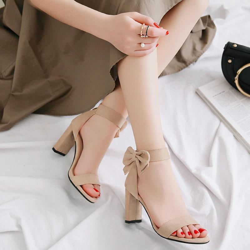 8d3b6555f76 2018 New Style Sandals women Summer Cover Heel Sweet Bow High Heel Shoes Chunky  Heel Hollow