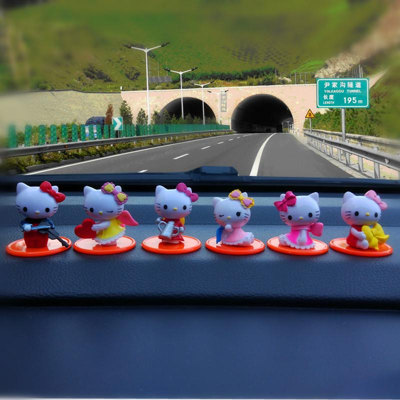 New Products Cute Hello Kitty35 Anniversary Creative 58 Car Decoration Nei Shi Pin Cartoon Garage Kit
