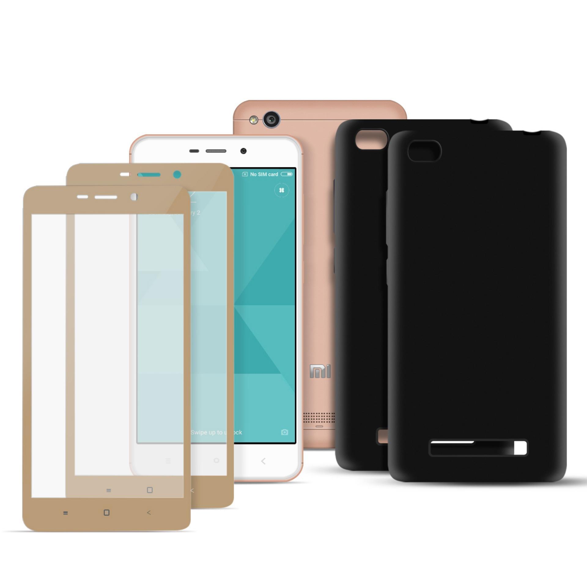 Xiaomi Redmi 4A Full Cover Carbon Fiber Soft Edge Tempered Glass Set of 2 ( Gold