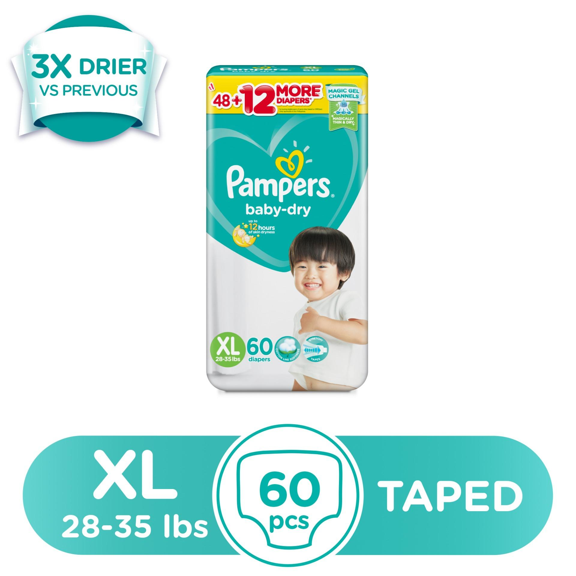 Pampers Baby Dry Extra Large (28-35 lbs) - 60 pcs x 1