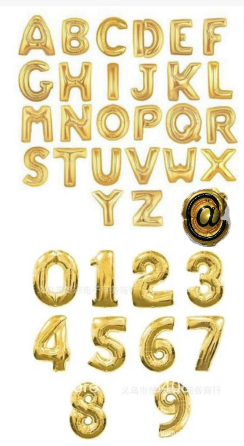 16inches Letter Balloon Nomber Alphabet Foil Mylar Gold