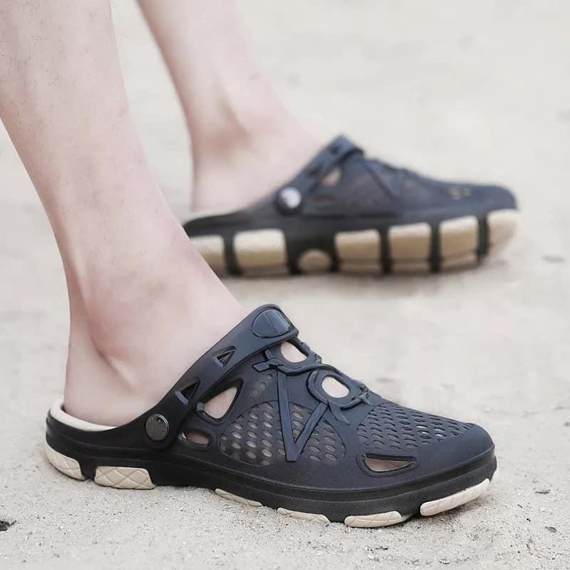 Mens Outdoor Jelly Sandal 802 (black) By Double Winner.